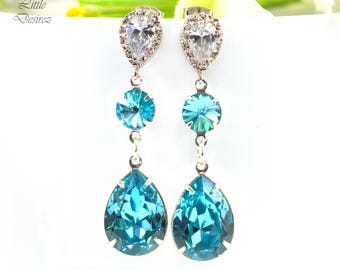 Swarovski Blue Bridal Earrings Turquoise Earrings Wedding Earrings Bridesmaid Gift Crystal Earrings Cubic Zirconia Hypoallergenic TQ31PC
