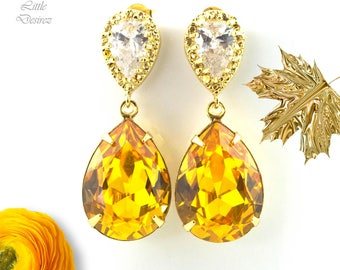 Yellow Earrings Sunflower Yellow Canary Yellow Lemon Zest Bright Yellow Swarovski Crystal Earrings Cubic Zirconia Hypoallergenic LT31P