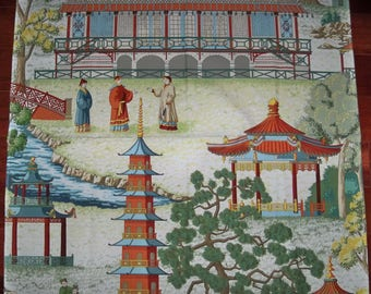 MANUEL CANOVAS Pagoda Asian Chinoiserie Toile Fabric REMNANT