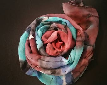Hand Painted Silk Shawl Wrap,oneofakind,luxury accessories for women,silk scarves,gifts for her,rust,turquoise,Santa Fe colors,silk wraps