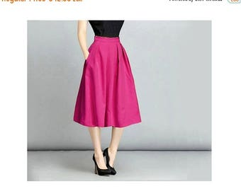 JULY 20 OFF Linen Fuchsia Skirt, Midi skirt, Linen Skirt, Flared Skirt with Pockets