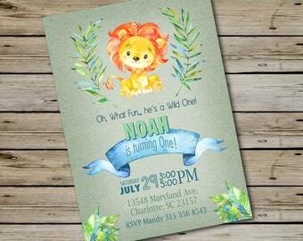 Wild One LION BIRTHDAY INVITATION, Watercolor Lion, In The Wild Birthday Party, Blue Lion Birthday, Jungle Animals Birthday, Boy Bday