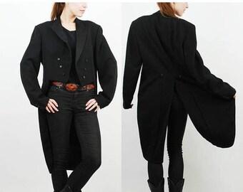 SALE Man Tailcoat / Wool Tailcoat / Vintage Tailcoat / Steampunk Coat / Stijlgroep Groningen / Extra Large Tailcoat / Black Tailcoat Tuxedo