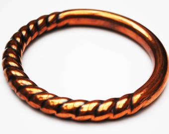 Boho copper  Ribbed  bangle -Hollow  copper - modern  bracelet