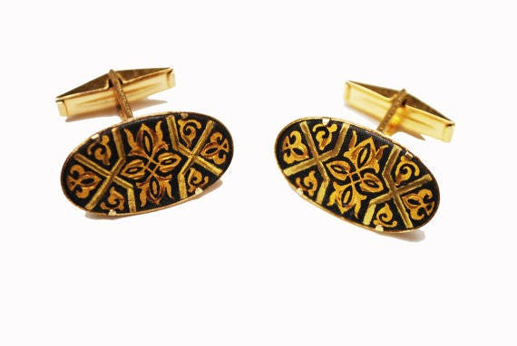 Damascene oval Cuff links - gold and Black Etched enameling - vintage cufflinks