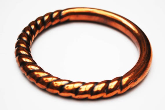 Boho copper  bangle -Hollow  copper -Ribbed stripped -  modern  bracelet
