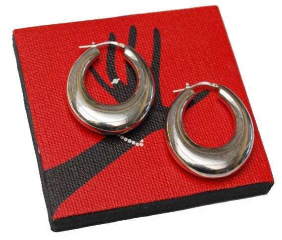 Large  Sterling Hoop Earrings - hollow sliver hoops - Modernistic design - Signed Italy Milor- pierced earrings