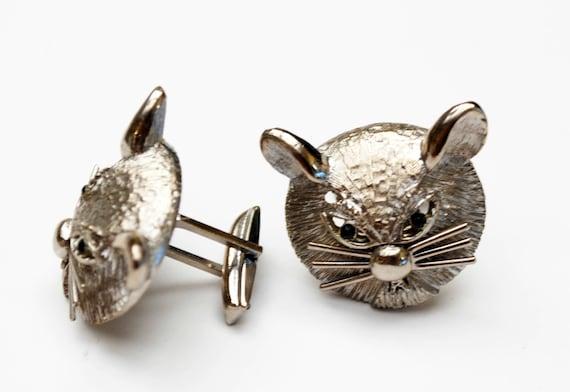 Silver Cat Cuff links - feline cufflink - black rhinestone - pat pend signed - Kitty cat head