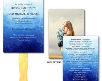 Summer Sale Blue Dream Wedding Ceremony Program Fan - Set Printed, Affordable Hand Fans, Elegant, Programs, Paper Fan, Paddle Fan, Blue and