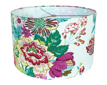 Lamp Shade - Floral Lampshade - Portobello Vase by PK Lifestyle - Williamsburg Collection in Blossom - Pink Aqua Yellow Green