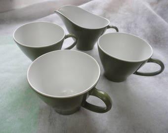 Vintage Poymac Melmac by Royalon Dishware, Royalon Dishware, Olive Green Camping Melmac, Royalon, Melmac Creamer and Cups, Melmac, Camping