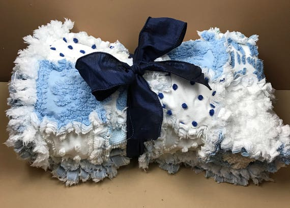 Ragged Baby blanket, Baby Blanket, , Quilt, Ragged Blanket, Chenille Baby Blanket, , Blue Baby Blanket, Blue Blanket, Chenille Blanket