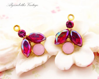 Little Rhinestone Leaf Flower Drops in Vintage AB Siam Red, Fuchsia and Alabaster Pink Swarovski 16x11mm - 2