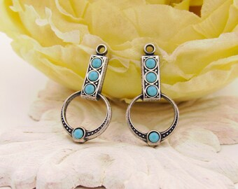 Art Deco and Turquoise Blue Swarovski Rhinestone Drops Earring Dangles Brass or Antique Silver Settings 21mm Long - 2