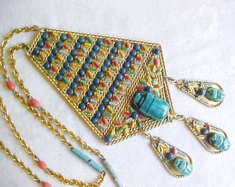Vintage Egyptian Scarab Pendant Necklace - Turquoise Teal Blue Ceramic Dangle Beetles - Colorful Cut Wire Decorated on Gold Plated Metal
