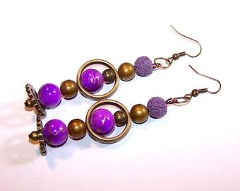 "Bohemian long earrings ""Zinzolune"" bronze"