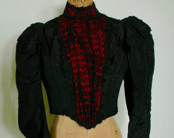 """Victorian Exquisite Black Satin, Silk and Lace Bodice - """"Museum Quality"""""""