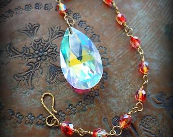 Sun Catcher Aurora Borealis on Brass and Orange Czech Glass Chain Light Catcher Window Ornament