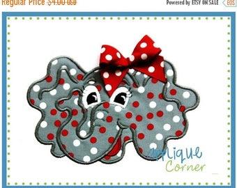 50% Off 010 Elephant with tack down for bow applique digital design for embroidery machine by Applique Corner