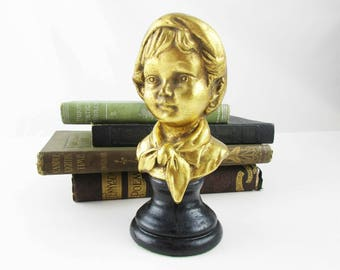 A Lovely Small Sculpture of a Little Boy - Boy With Soft Hat and Scarf - Goldtone Head on Black Base - Plastercast