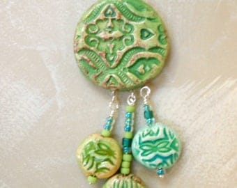 ceramic pendant necklace with triple drop lots of texture and beautiful colors