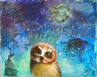 Elf Owl Mixed Media Painting ready to hang