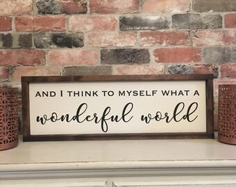 What a wonderful world painted wood sign