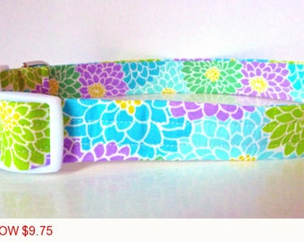 "Sale - 50% Off - Dahlia Floral Dog Collar - Purple, Green & Blue Flowers ""Brittney"" - Free Colored Buckles"