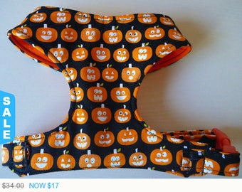 """Sale - 50% Off Halloween Glow in the Dark Pumpkins Comfort Dog Harness """"Screem""""- Soft on Your Dogs Skin - Available in all Fabrics Listed in"""