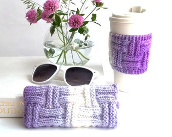 Set of 2. White and Lavender Glasses Case and Coffee Cup Cozy. Wonderful Gift For You