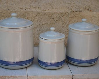 RARE Set of 3 McCOY Blue Grey Canisters, #135 & #133, Grey with Blue Stripe, Great Condition, All Marked McCOY, Cookie Jars, Kitchen Storage