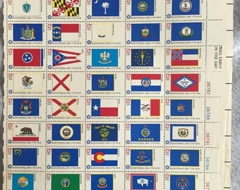 USA State Flags Stamps Full Sheet Bicentennial 1776-1976 State Flags US Stamps Collection Bicentennial Era 13 Cent Stamps