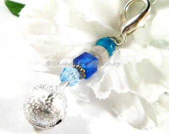 Blue Beaded Keychain Charm with Jingle Bells, Zipper Charm, Purse Charm, Bell Charm Keychain Accessory, Purse Accessories, Zipper Pull Charm