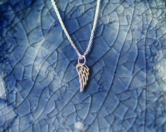 Wing Charm Necklace - Sterling Silver Angel Wing - Wing Charm - Silver Wing - Angel Charm - Silver Wing Charm - Angel Wing - Fairy Charm