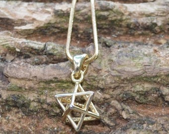 DEADsy LAST GASP SALE 3-D Star of David Gold Necklace // Dainty Magen David Necklace in Plated Yellow Gold // Vintage