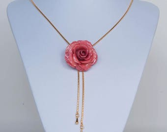 Pink rose pendant etsy christmas gift pink rose necklace rose pendant long necklace real flower jewelry audiocablefo light ideas