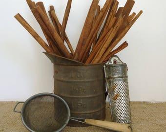 kitchen antiques vintage country prim farmhouse, tin measure scoop, spice grater, strainer, kitchen decor