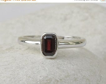 30% OFF Rectangle Cut Garnet Ring- Tiny Red Stackable Ring- Sterling Silver Small Ring- Children Gemstone Ring- January Birthstone Ring