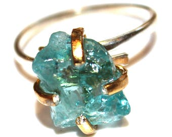 Raw Apatite Ring Raw Stone RIng Mixed Metal Ring Rustic Ring Aqua Ring Gift for Her Apatite Jewelry Rustic Ring Stacking Ring