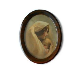 Vintage Sepia Madonna and Child by Partridge Taber Prang Large metal frame