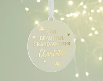 Granddaughter Grandson Christmas Decoration Personalised Foil Bauble
