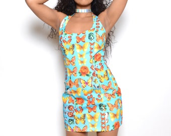 Vintage 90's Bug Print Mini Dress Sz M