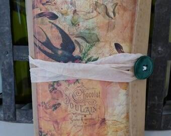 Swallow in Flight mini junk journal,shabby chic, vintage