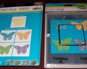 BUTTERFLIES - EMBOSS & CUT - Cuttlebug Die Cut and Emboss Beautiful BUTTERFlY   - Rare and Retired !