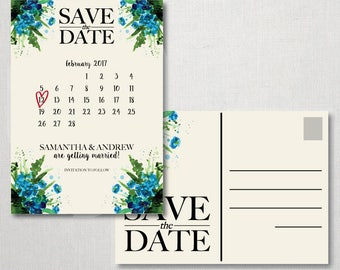 Watercolor Flowers Postcard Save the Date - Save the Date Postcard - Watercolor Flower - Watercolor Save the Date - Postcard - Save the Date