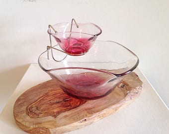 Mid Century Blendo Red Ombre Chip and Dip Bowl