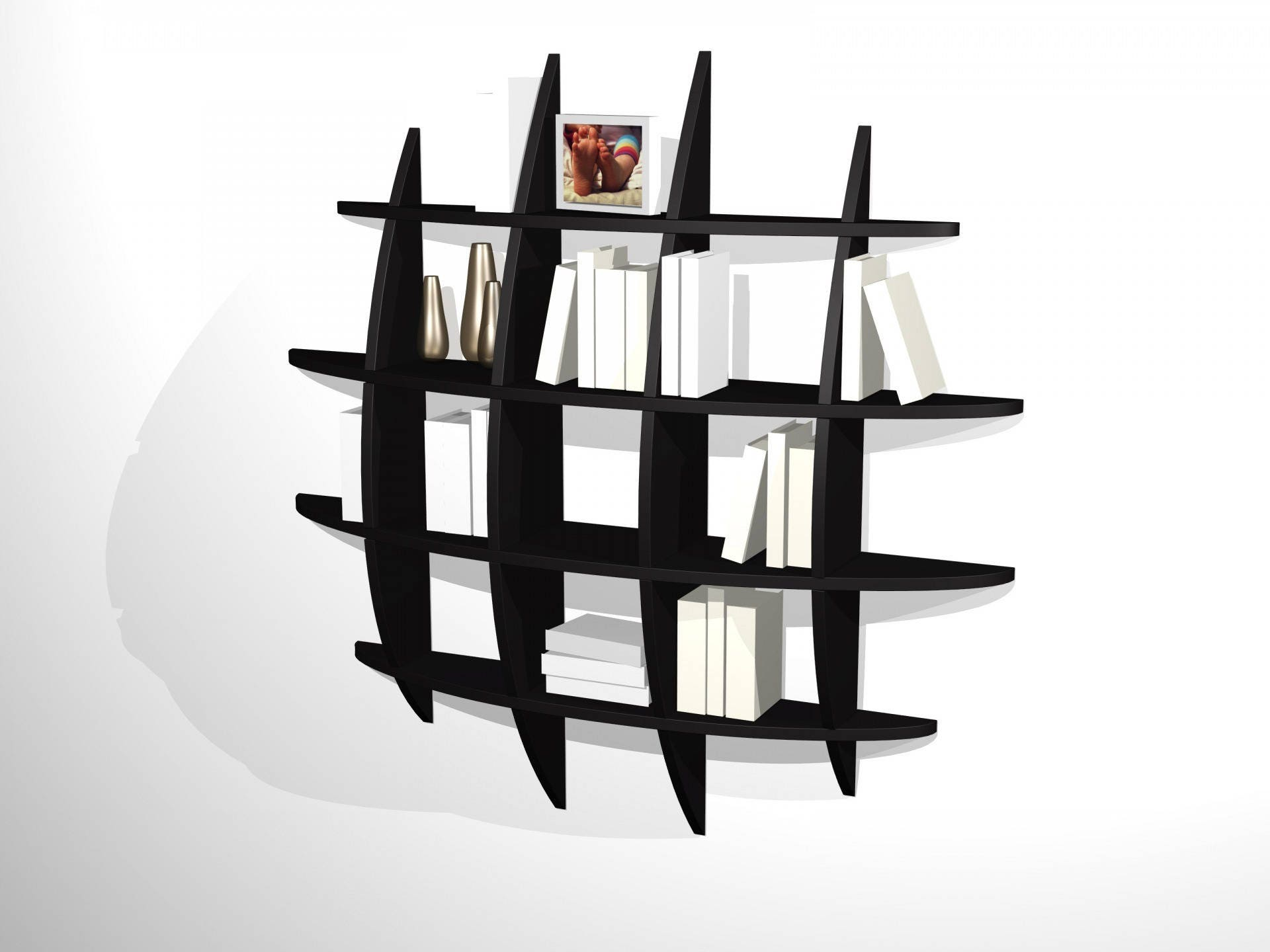 biblioth que murale design retento ronde pm noire. Black Bedroom Furniture Sets. Home Design Ideas