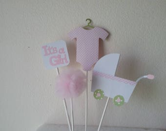 It's A Girl Topper Set-It's a Girl Baby Shower-It's a girl Centerpiece Set