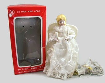 Lighted Angel Tree Topper, Porcelain Head 10 Light Lace Angel Tree Top in Original Box, Christmas Decoration
