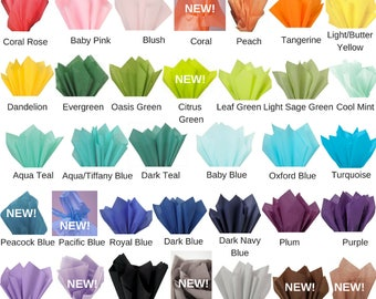 TISSUE PAPER Sheets / 47 colors to choose from / 24 Sheets of Premium Recycled Tissue Paper / Scrapbooking / DIY / Gift Wrap / Party Decor